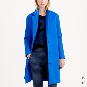 J.Crew Collection blue bonded twill long top coat